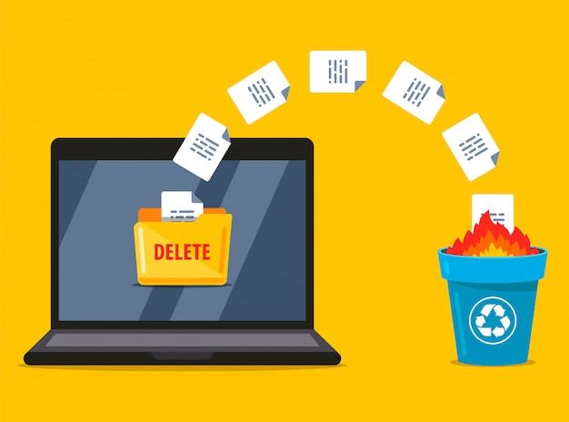 Excluir permanentemente documentos do laptop para a lixeira. gravação de dados. ilustração plana. Vetor Premium