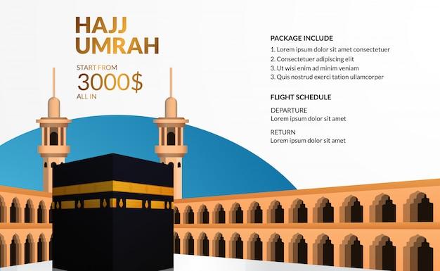 Excursão moderna simples do hajj e umrah viaja modelo de publicidade com ilustração realista de caaba. Vetor Premium