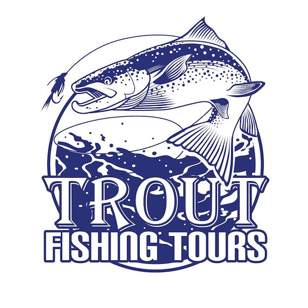 Excursões de pesca da truta Vetor Premium