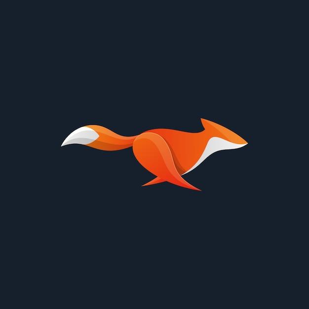 Execução de fox design concept ilustração vetorial modelo Vetor Premium