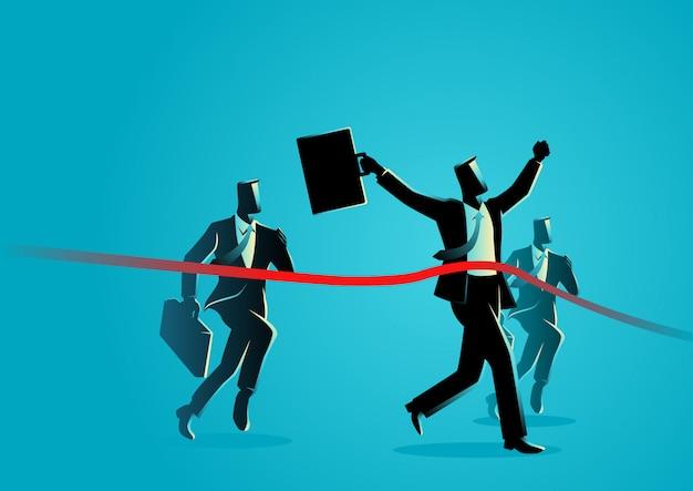 Executando os empresários cruzando a linha de chegada Vetor Premium