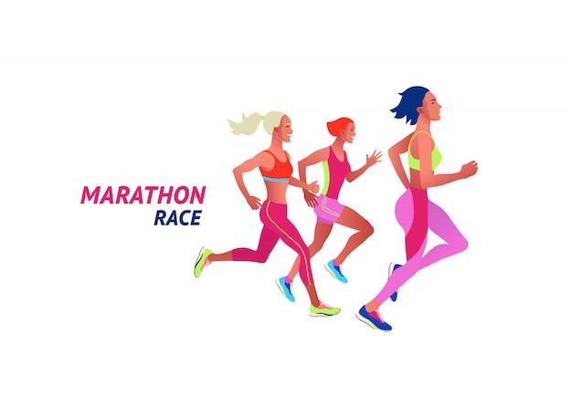 Executando pessoas multinacionais. homens e mulheres, correr ou correr maratona Vetor Premium