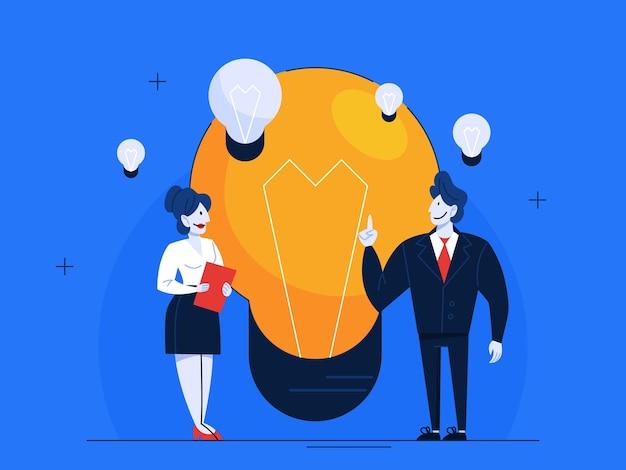Executivos de terno com lâmpada. pessoa com ideia. Vetor Premium