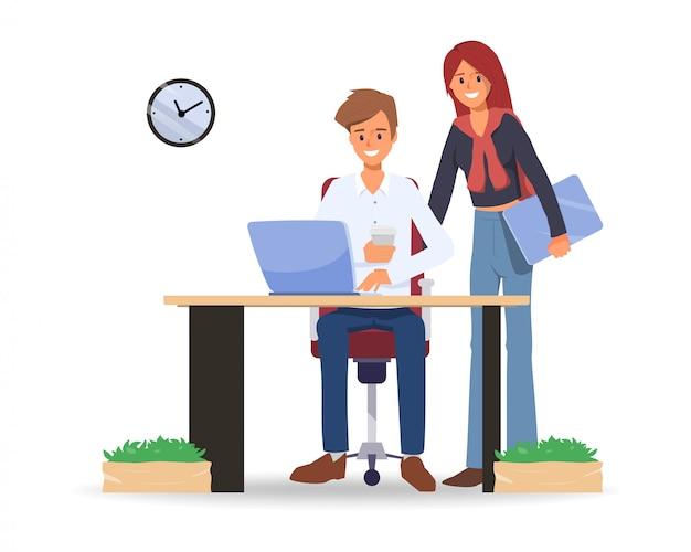 Executivos do colega de trabalho do espaço de trabalho do co. Vetor Premium