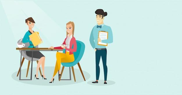 Executivos multirraciais novos durante a reunião. Vetor Premium