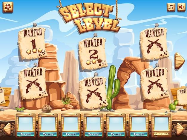Exemplo de tela de seleção de nível para o jogo de computador wild west Vetor Premium