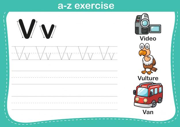 Exercício de az do alfabeto com ilustração de vocabulário dos desenhos animados Vetor Premium