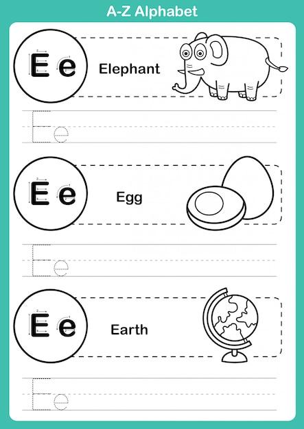 Exercício de az do alfabeto com vocabulário dos desenhos animados para colorir livro Vetor Premium