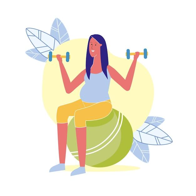 Exercício de fitness para ilustração grávida Vetor Premium