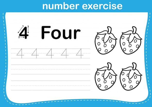 Exercício de número com desenhos animados para colorir a ilustração do livro Vetor Premium