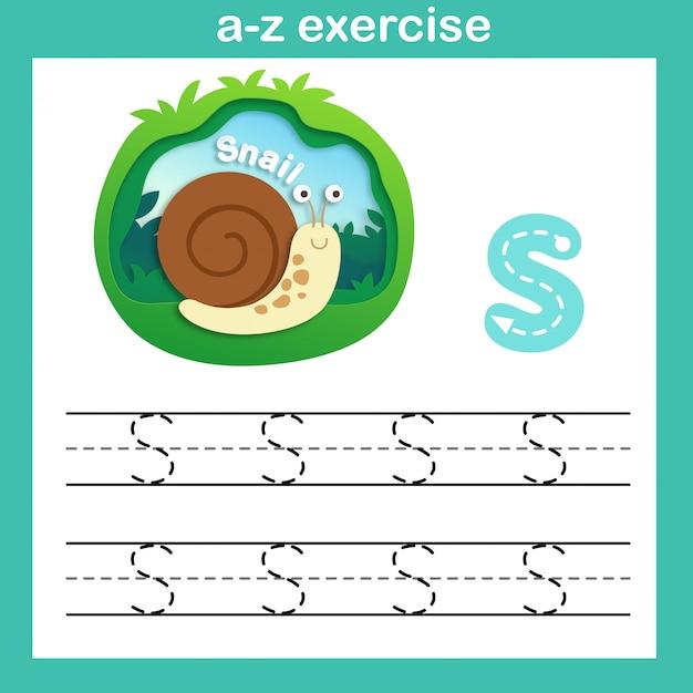 Exercício de s-snail carta do alfabeto, ilustração em vetor papel conceito de corte Vetor Premium