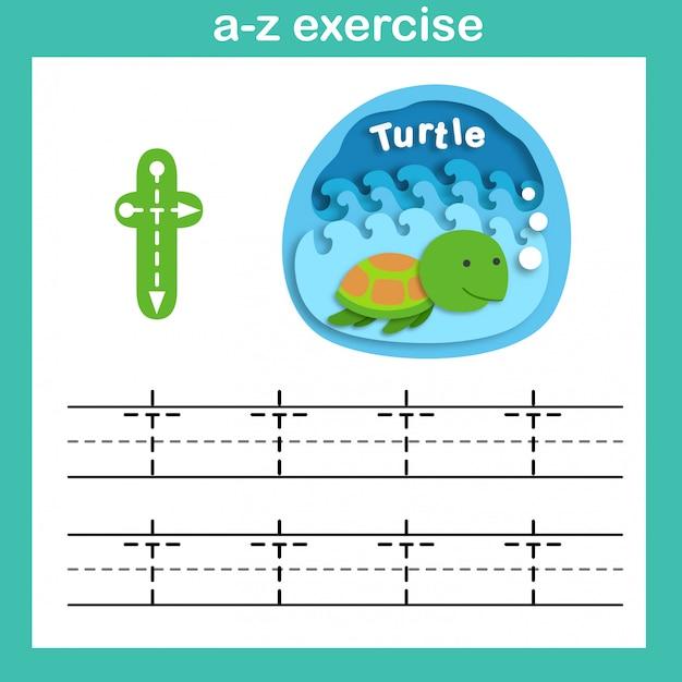 Exercício de t-tartaruga de letra do alfabeto, ilustração em vetor papel conceito cortado Vetor Premium