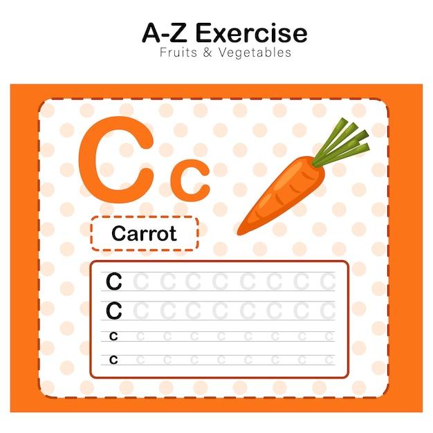 Exercício do alfabeto c. com ilustração de vocabulário dos desenhos animados de cenoura, cenoura Vetor Premium