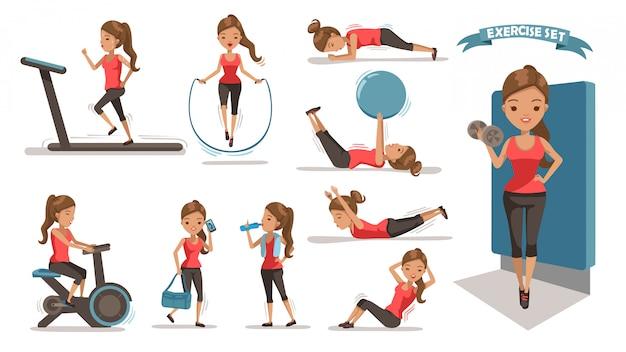 Exercício mulher Vetor Premium