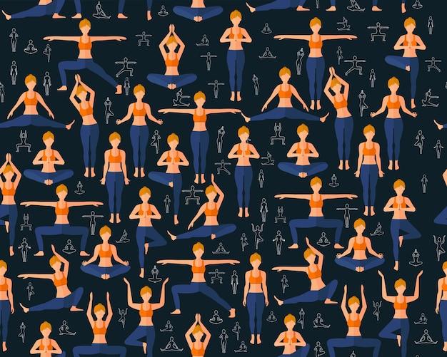 Exercícios da ioga do teste padrão sem emenda liso da textura do vetor. Vetor Premium