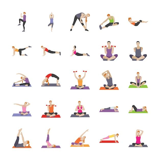 Exercícios de fitness ícones planas Vetor Premium