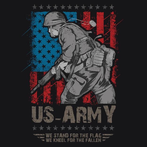 Exército dos eua com vetor de us-exército de bandeira Vetor Premium