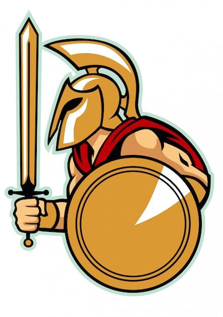 Exército espartano com escudo Vetor Premium