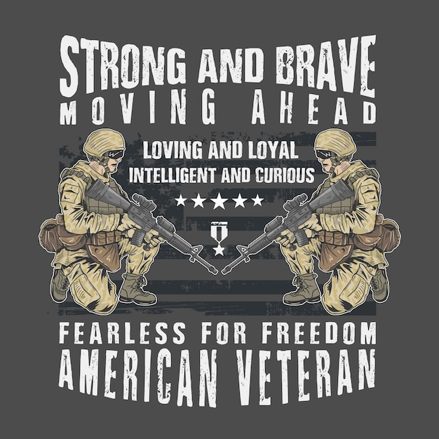 Exército veterano forte e corajoso Vetor Premium