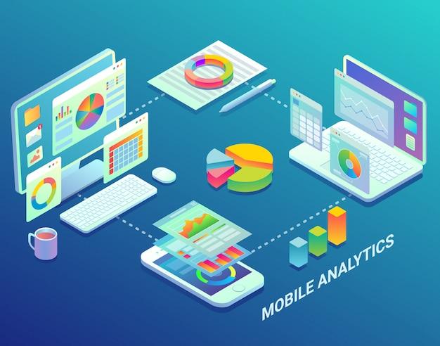 Exibição de análise da web para celular Vetor Premium