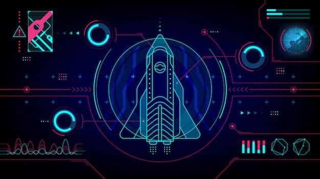 Exibição de computador tecnologia futurista hud spaceship Vetor Premium