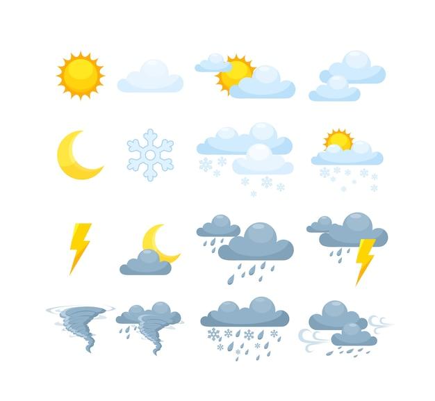 Exibição do telefone em dia ensolarado, chuvoso, nublado com trovoada. Vetor Premium