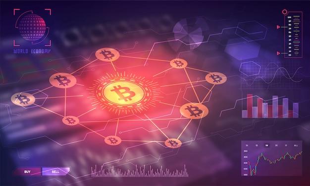 Exibição head-up de uma plataforma de negociação de bitcoin. Vetor Premium