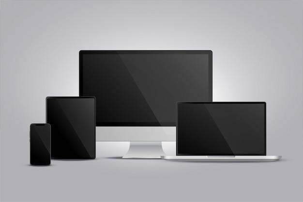 Exibição realista de monitor laptop tablet e smarphone Vetor grátis