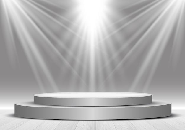 Exibir fundo com um pódio sob holofotes Vetor Premium