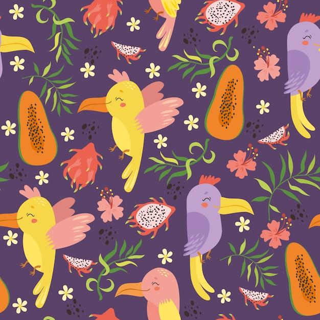 Exótico padrão sem emenda com papagaios e frutas Vetor grátis