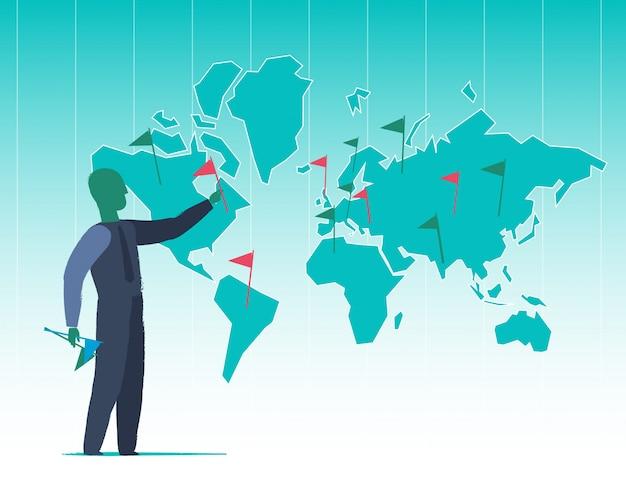 Expansão mundial Vetor Premium