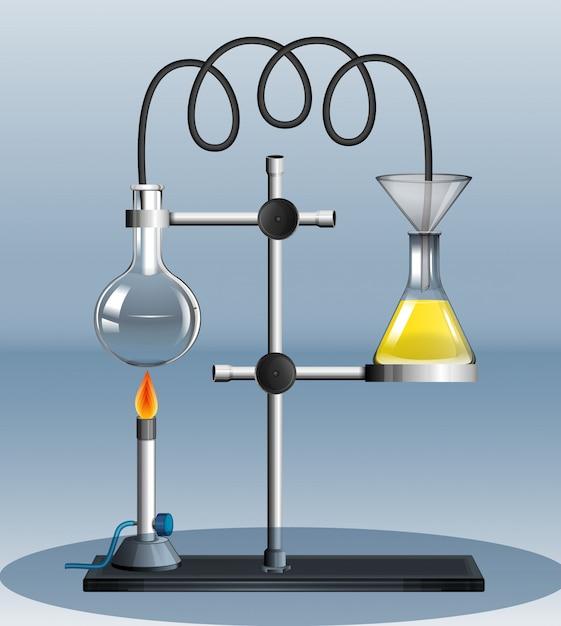 Experiência de laboratório com líquido em chamas Vetor grátis
