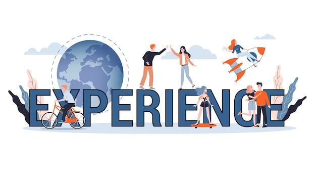 Experimente o conceito de banner da web. ideia de negócio Vetor Premium