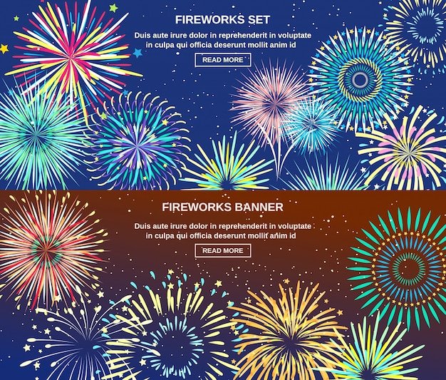 Explodindo de banners horizontais de fogos de artifício Vetor grátis