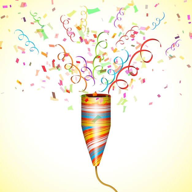 Explodindo popper de festa com confete Vetor Premium