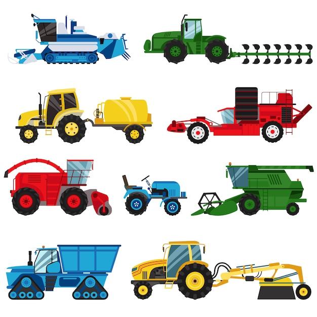 Exploração agrícola do equipamento para o vetor da ceifeira de liga da maquinaria da agricultura. Vetor Premium
