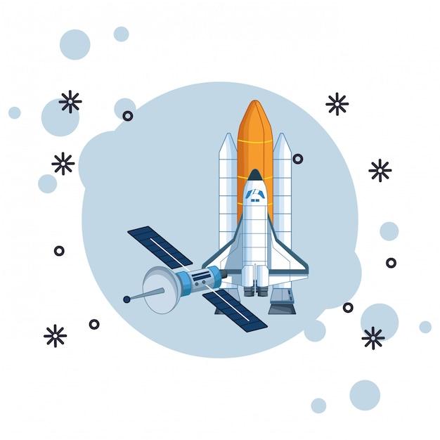 Exploração espacial e planetas dos desenhos animados Vetor Premium