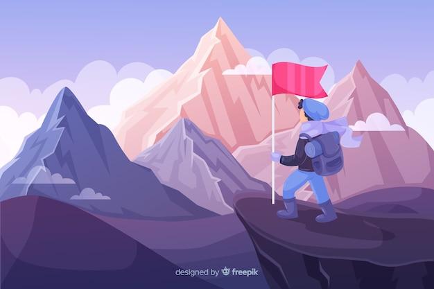 Explorador desenhado de mão com fundo de mochila Vetor grátis