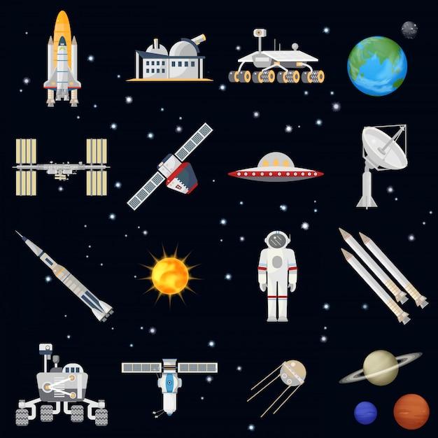 Explorando ícones de tecnologia espacial Vetor Premium