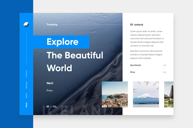 Explore a página de destino do oceano Vetor grátis