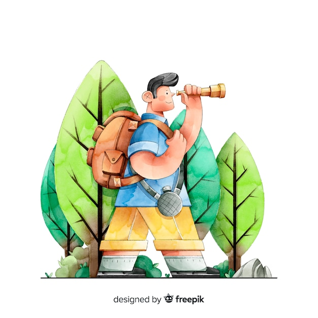 Explorer com fundo de mochila Vetor grátis