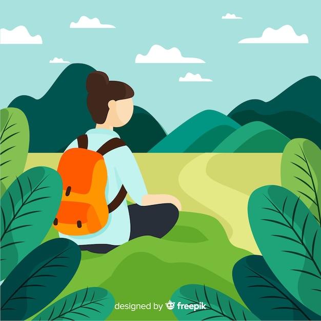 Explorer com mochila Vetor grátis