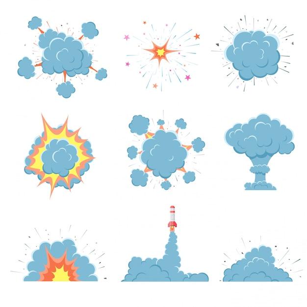 Explosão de bomba de vetor dos desenhos animados com fumaça. Vetor Premium