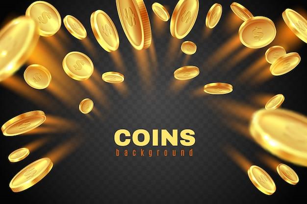 Explosão de moeda de ouro. chuva de moedas de dólar dourado. respingo de dinheiro do prêmio do jogo. conceito de jackpot de cassino em fundo preto Vetor Premium