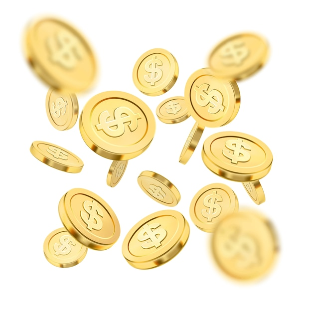 Explosão de moeda de ouro realista ou respingo em fundo branco. chuva de moedas de ouro. dinheiro caindo. bingo jackpot ou casino poker ou elemento de vitória. conceito de sucesso do tesouro de dinheiro. ilustração 3d. Vetor Premium