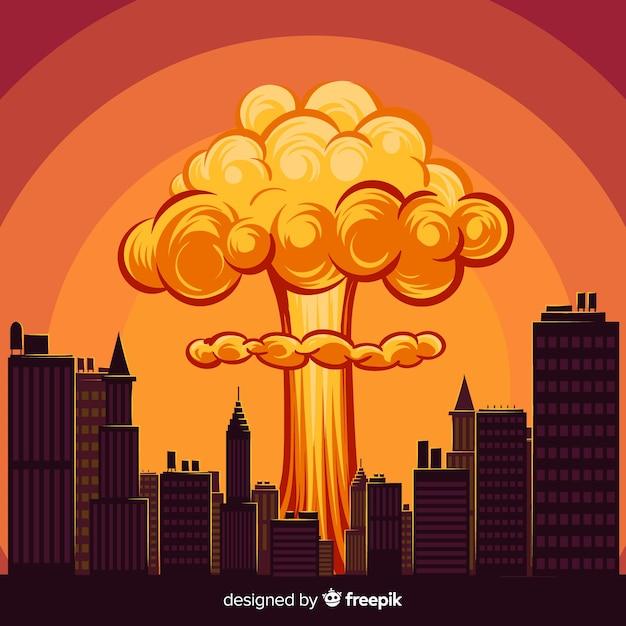 Explosão nuclear dos desenhos animados em uma cidade Vetor grátis