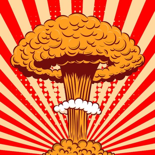 Explosão nuclear em estilo cartoon sobre fundo em quadrinhos. elemento para cartaz, cartão, banner, panfleto. ilustração Vetor Premium