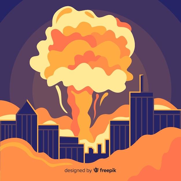 Explosao Nuclear Em Um Estilo De Desenho Animado Da Cidade Vetor Gratis