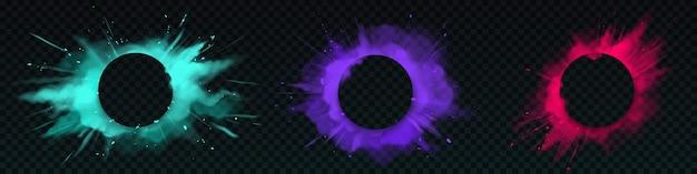 Explosões de pó colorido com banner circular Vetor grátis