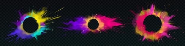 Explosões de pó colorido com faixas redondas Vetor grátis